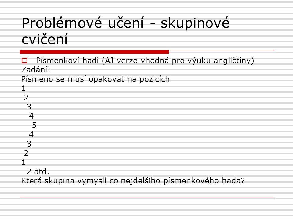 Problémové učení - skupinové cvičení  Písmenkoví hadi (AJ verze vhodná pro výuku angličtiny) Zadání: Písmeno se musí opakovat na pozicích 1 2 3 4 5 4