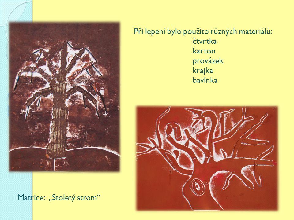 """Při lepení bylo použito různých materiálů: čtvrtka karton provázek krajka bavlnka Matrice: """"Stoletý strom"""