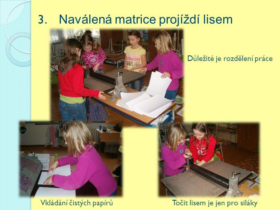 3. Naválená matrice projíždí lisem Vkládání čistých papírů Důležité je rozdělení práce Točit lisem je jen pro siláky