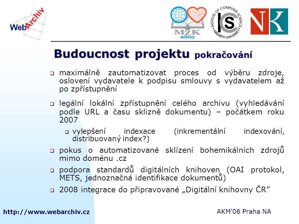 """http://www.webarchiv.cz AKM 06 Praha NA Budoucnost projektu pokračování  maximálně zautomatizovat proces od výběru zdroje, oslovení vydavatele k podpisu smlouvy s vydavatelem až po zpřístupnění  legální lokální zpřístupnění celého archivu (vyhledávání podle URL a času sklizně dokumentu) – počátkem roku 2007  vylepšení indexace (inkrementální indexování, distribuovaný index )  pokus o automatizované sklízení bohemikálních zdrojů mimo doménu.cz  podpora standardů digitálních knihoven (OAI protokol, METS, jednoznačná identifikace dokumentů)  2008 integrace do připravované """"Digitální knihovny ČR"""