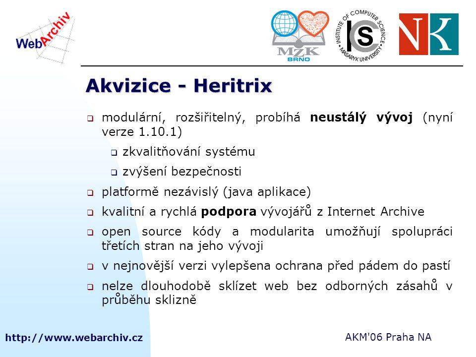 http://www.webarchiv.cz AKM'06 Praha NA Akvizice - Heritrix  modulární, rozšiřitelný, probíhá neustálý vývoj (nyní verze 1.10.1)  zkvalitňování syst