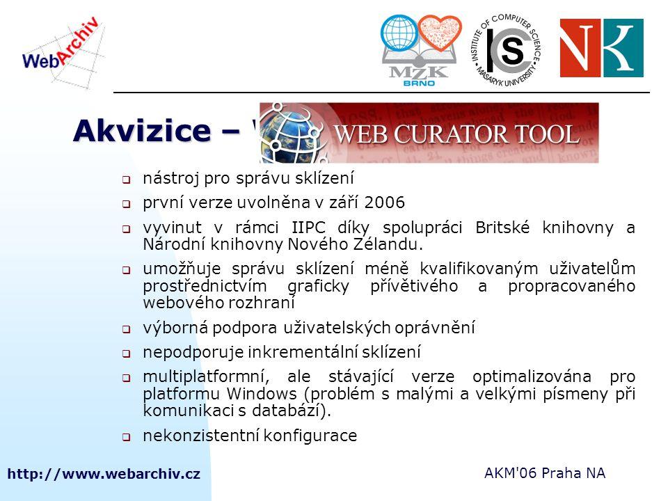http://www.webarchiv.cz AKM'06 Praha NA Akvizice – WEB CURATOR TOOL  nástroj pro správu sklízení  první verze uvolněna v září 2006  vyvinut v rámci