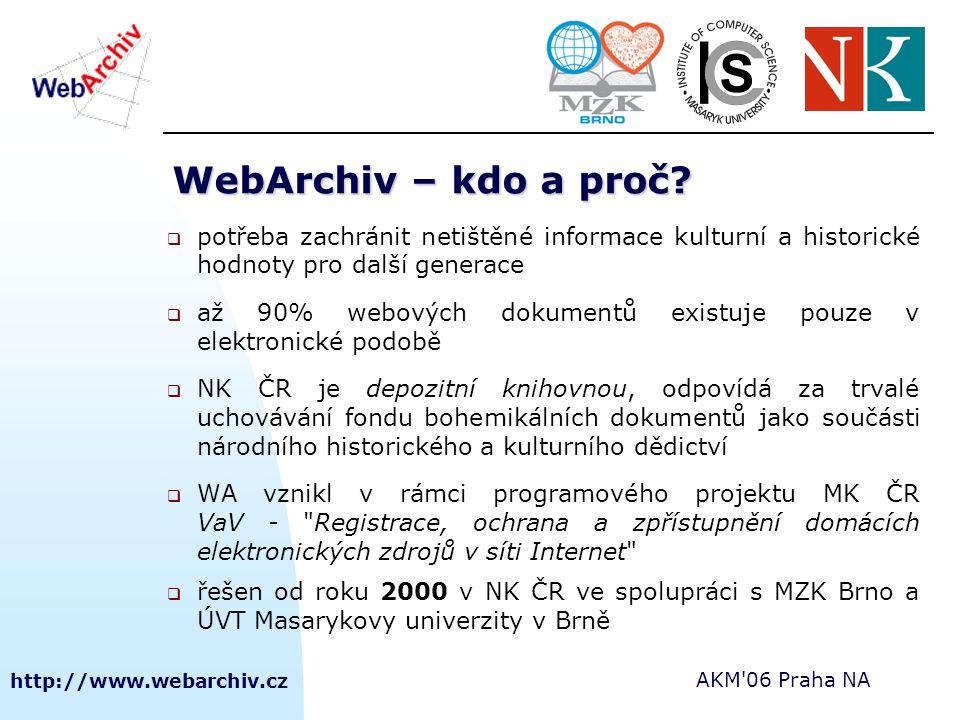 http://www.webarchiv.cz AKM'06 Praha NA WebArchiv – kdo a proč?  potřeba zachránit netištěné informace kulturní a historické hodnoty pro další genera