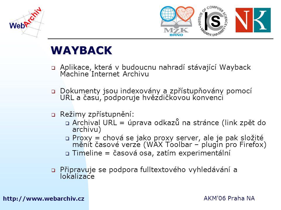 http://www.webarchiv.cz AKM 06 Praha NA WAYBACK  Aplikace, která v budoucnu nahradí stávající Wayback Machine Internet Archivu  Dokumenty jsou indexovány a zpřístupňovány pomocí URL a času, podporuje hvězdičkovou konvenci  Režimy zpřístupnění:  Archival URL = úprava odkazů na stránce (link zpět do archivu)  Proxy = chová se jako proxy server, ale je pak složité měnit časové verze (WAX Toolbar – plugin pro Firefox)  Timeline = časová osa, zatím experimentální  Připravuje se podpora fulltextového vyhledávání a lokalizace