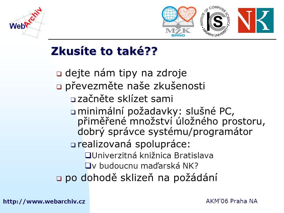http://www.webarchiv.cz AKM'06 Praha NA Zkusíte to také??  dejte nám tipy na zdroje  převezměte naše zkušenosti  začněte sklízet sami  minimální p