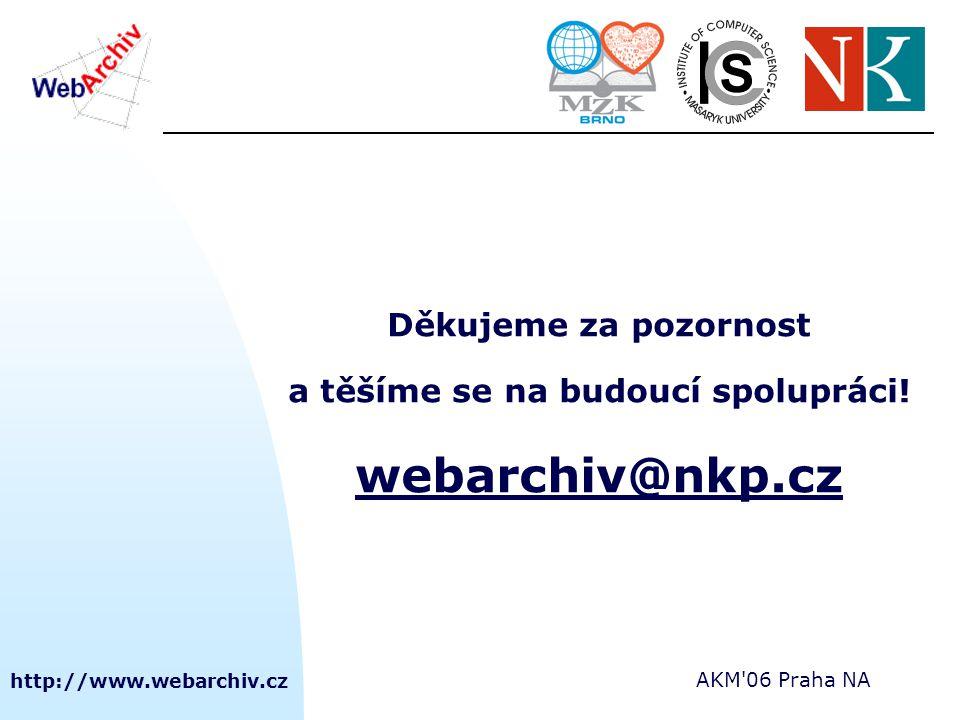 http://www.webarchiv.cz AKM'06 Praha NA Děkujeme za pozornost a těšíme se na budoucí spolupráci! webarchiv@nkp.cz webarchiv@nkp.cz