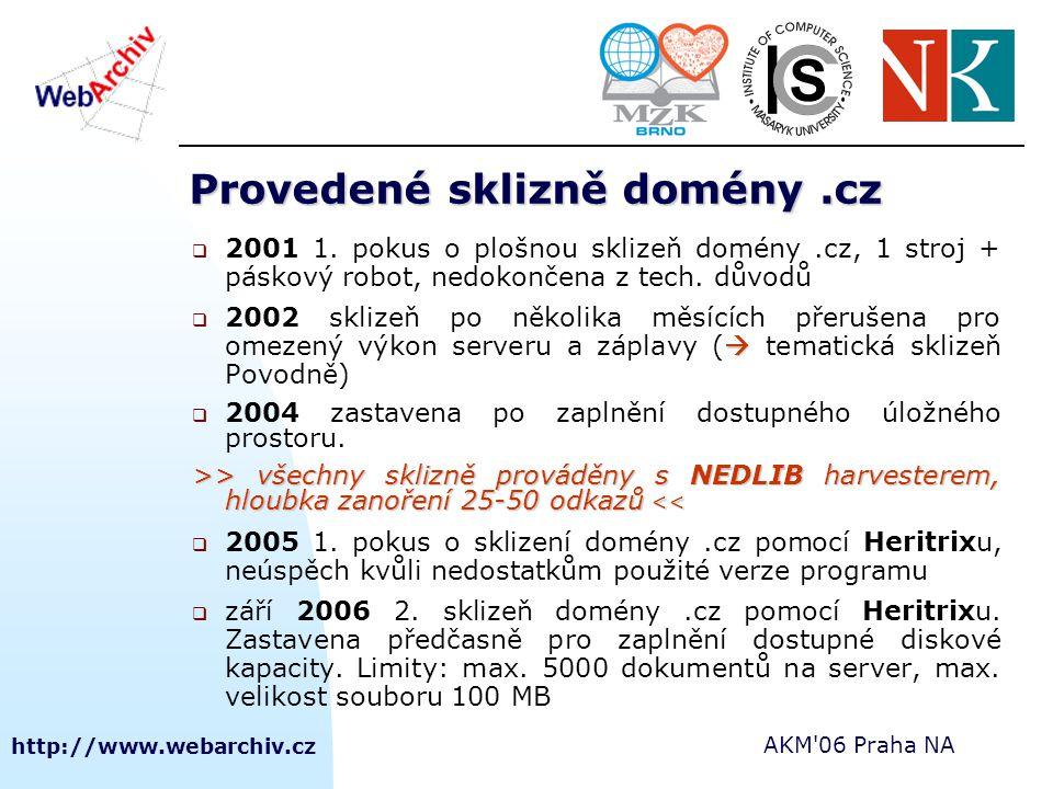 http://www.webarchiv.cz AKM 06 Praha NA Indexace – Nutch, NutchWAX Nutch vyhledávací engine  volně dostupný modulární vyhledávací engine  umí stáhnout a zpracovat miliony stránek měsíčně; spravovat jejich index, vyhledávat v něm 1000x za vteřinu NutchWAX  nástavba vyhledávacího rozhraní Nutch vytvořená pro potřeby indexování dokumentů archivovaných Heritrixem (ARC formát), přidává do indexu potřebná metadata, především časové razítko  Od letošní verze 0.6 pracuje nad MapReduce Nutch (podpora zpracování velkých objemů dat, distribuovaný filesystem Hadoop)  tato verze je zatím nestabilní
