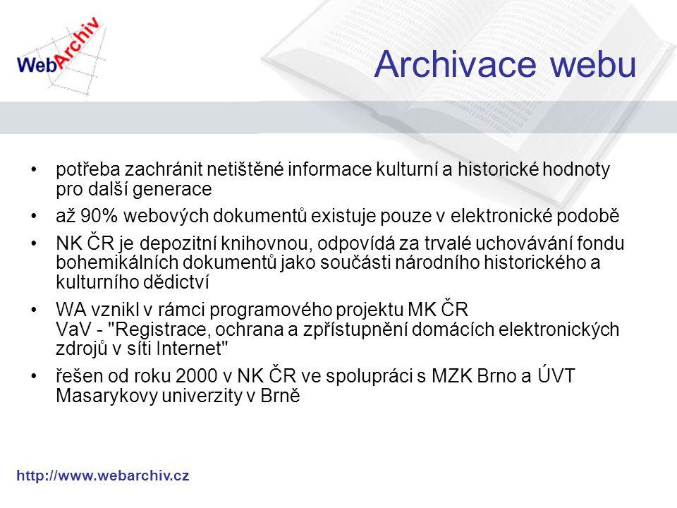 http://www.webarchiv.cz DeDuplicator Modul pro Heritrix Snaží se detekovat duplikáty ještě před jejich stažením Využívá toho, že některé typy dokumentů (např.