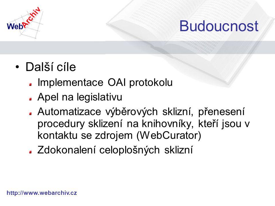 http://www.webarchiv.cz Budoucnost Další cíle Implementace OAI protokolu Apel na legislativu Automatizace výběrových sklizní, přenesení procedury sklizení na knihovníky, kteří jsou v kontaktu se zdrojem (WebCurator) Zdokonalení celoplošných sklizní
