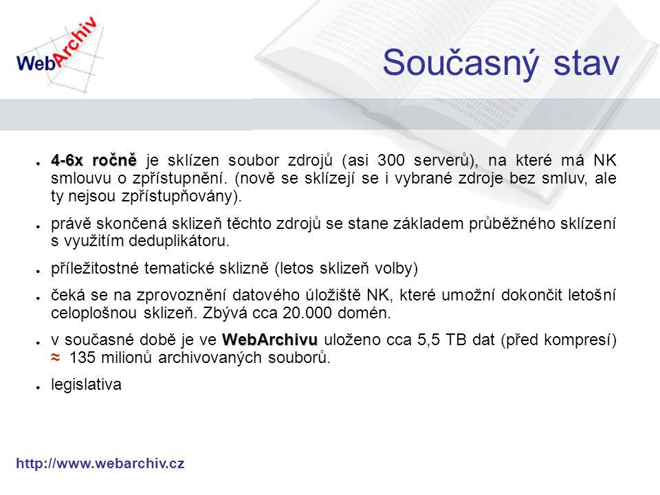 http://www.webarchiv.cz Současný stav ● 4-6x ročně ● 4-6x ročně je sklízen soubor zdrojů (asi 300 serverů), na které má NK smlouvu o zpřístupnění.