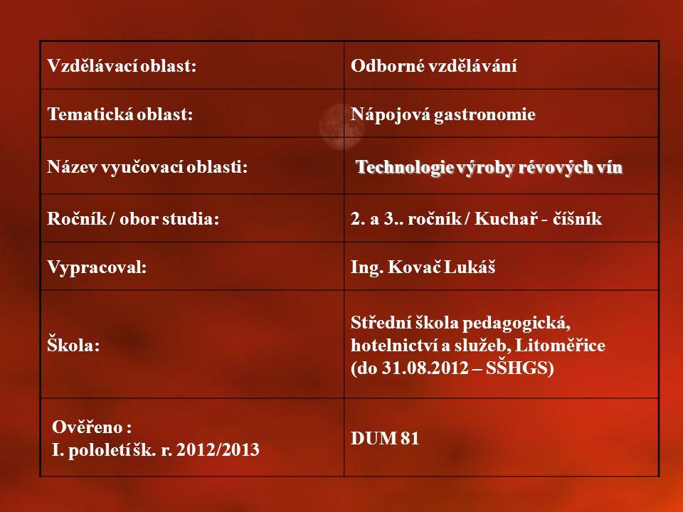 Vzdělávací oblast:Odborné vzdělávání Tematická oblast:Nápojová gastronomie Název vyučovací oblasti: Technologie výroby révových vín Ročník / obor stud
