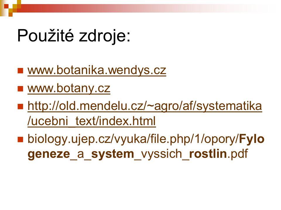 Použité zdroje: www.botanika.wendys.cz www.botany.cz http://old.mendelu.cz/~agro/af/systematika /ucebni_text/index.html http://old.mendelu.cz/~agro/af