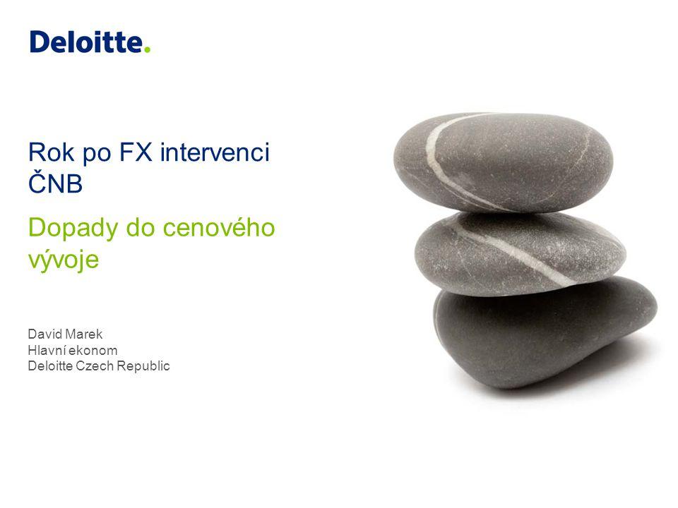 Rok po FX intervenci ČNB David Marek Hlavní ekonom Deloitte Czech Republic Dopady do cenového vývoje