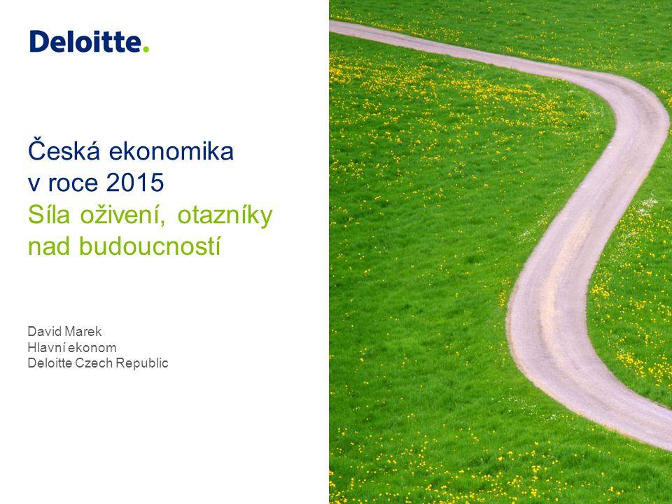 8 © 2014 Deloitte Česká republika HDP Překvapivá akcelerace Po dvou recesích začala ekonomika v loni ve 2Q opět růst Akcelerace překonala většinu prognóz Evidentní synchronizace ČR a eurozóny (korelace 0,9; citlivost 1,5 – počítáno za posledních 10 let) Prognóza pro letošní rok +2,3%, v roce 2015 +2,8%