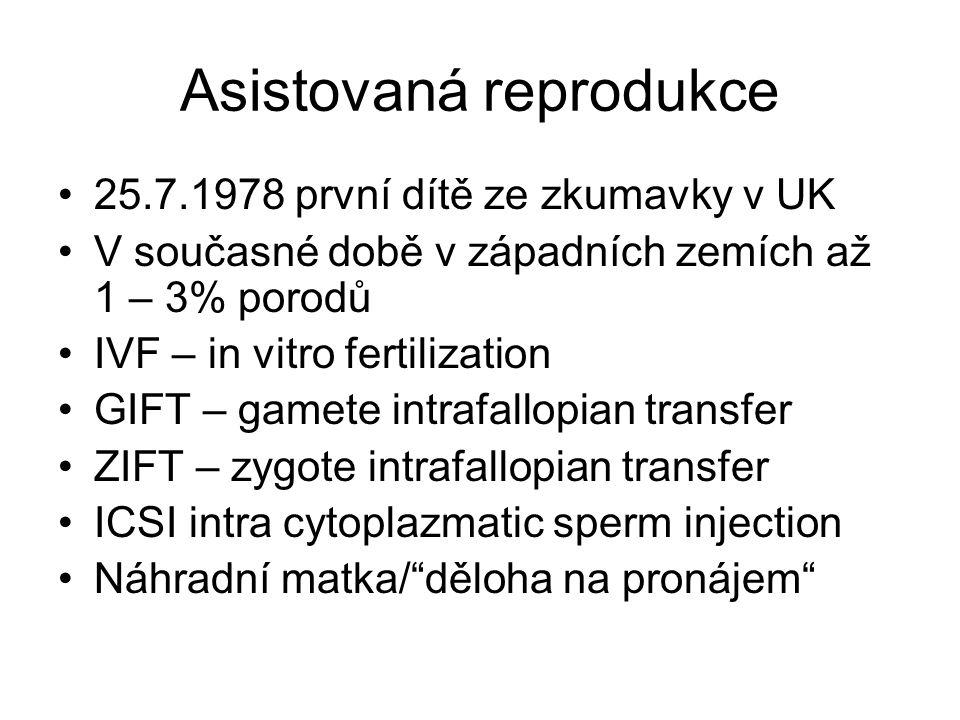 Asistovaná reprodukce 25.7.1978 první dítě ze zkumavky v UK V současné době v západních zemích až 1 – 3% porodů IVF – in vitro fertilization GIFT – ga