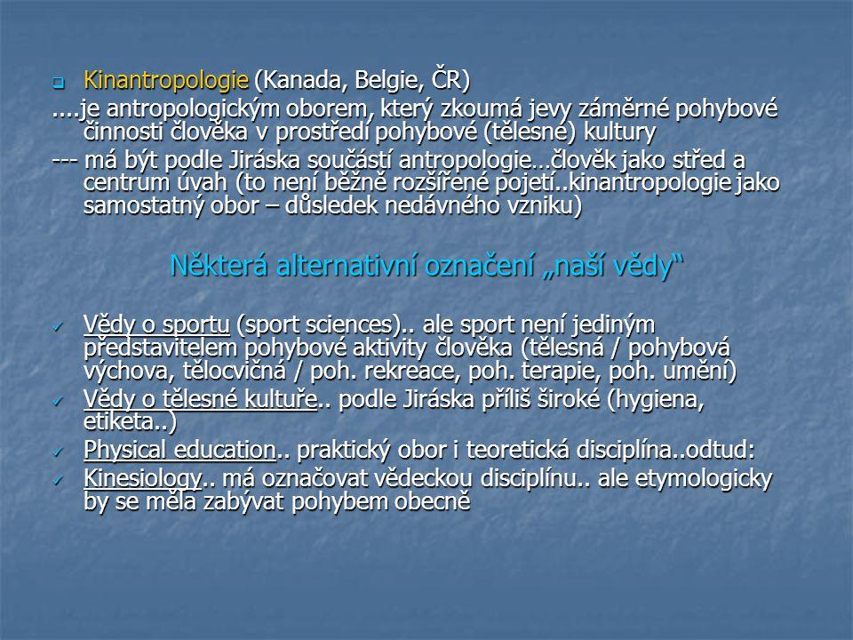 Kinantropologie --- od roku 1993 z původní teorie tělesné výchovy a věd o tělesné kultuře --- pohyb – člověk – nauka …zastřešující název pro interdisciplinární zkoumání, název napovídá že vědy zabývající se lidským pohybem jsou součástí antropologie (člověk v centru..ničím jiným se nemá zabývat..člověkem a kultivací jeho pohybu) …společný předmět bádání, různé metody jednotlivých disciplín …společný předmět bádání, různé metody jednotlivých disciplín …je aplikovanou vědou věd základních (anatomie, historie, psychologie, sociologie..) i samostatnou vědou (zkoumá určitý fenomén pomocí různých přístupů) …je aplikovanou vědou věd základních (anatomie, historie, psychologie, sociologie..) i samostatnou vědou (zkoumá určitý fenomén pomocí různých přístupů) …problém koheze …problém koheze  Vztah kinantropologie k antropologii využit Jiráskem pro členění jejích disciplín: