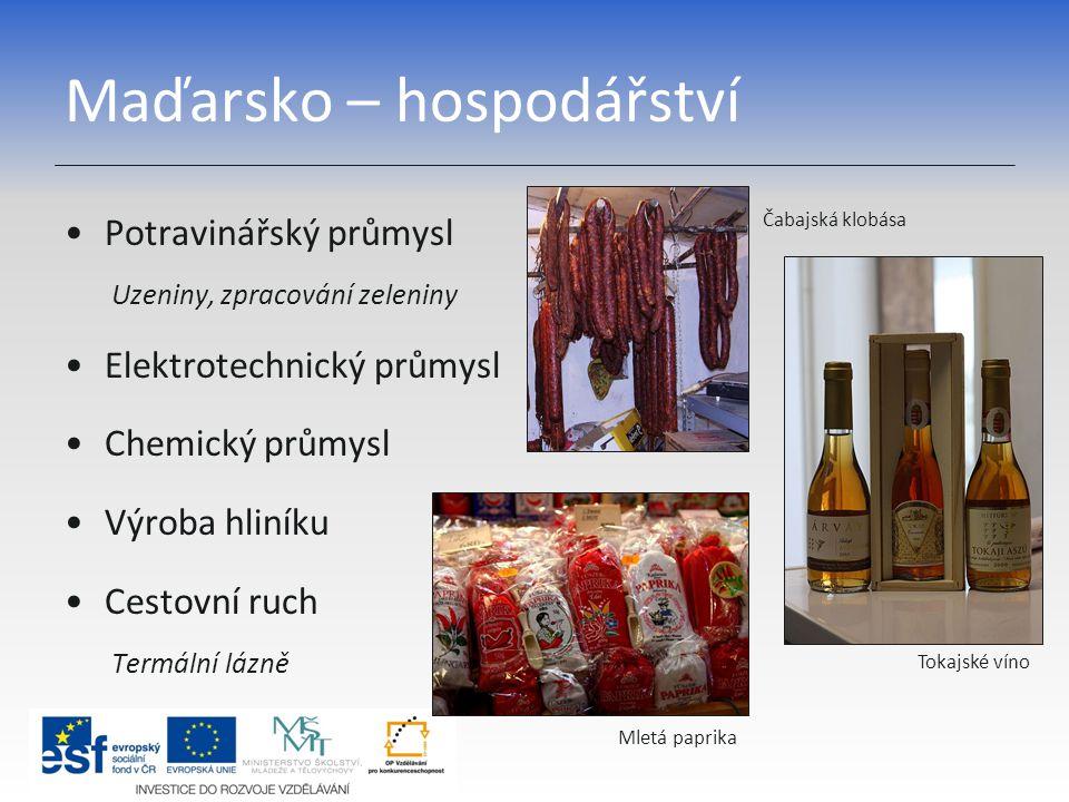 Maďarsko – hospodářství Potravinářský průmysl Uzeniny, zpracování zeleniny Elektrotechnický průmysl Chemický průmysl Výroba hliníku Cestovní ruch Term