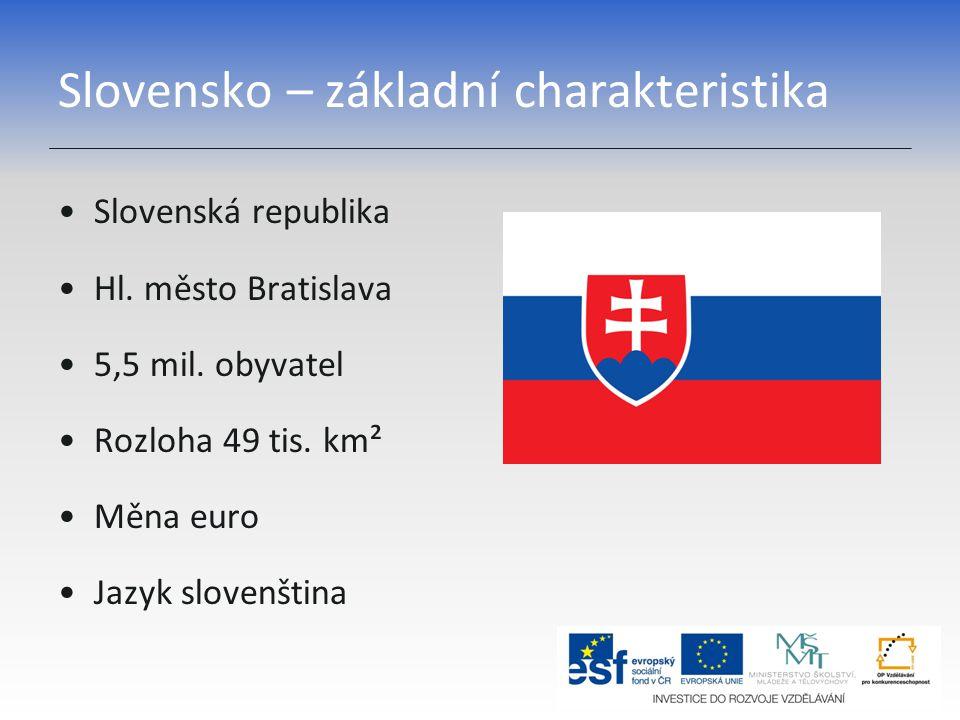 Slovensko – základní charakteristika Slovenská republika Hl. město Bratislava 5,5 mil. obyvatel Rozloha 49 tis. km² Měna euro Jazyk slovenština