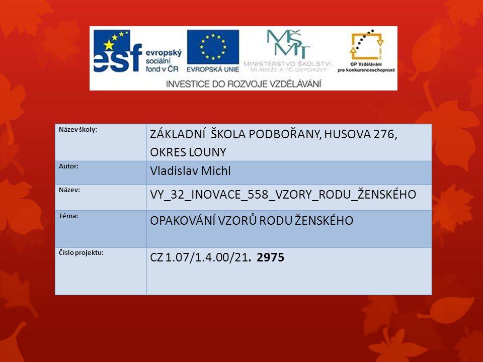 Název školy: ZÁKLADNÍ ŠKOLA PODBOŘANY, HUSOVA 276, OKRES LOUNY Autor: Vladislav Michl Název: VY_32_INOVACE_558_VZORY_RODU_ŽENSKÉHO Téma: OPAKOVÁNÍ VZORŮ RODU ŽENSKÉHO Číslo projektu: CZ 1.07/1.4.00/21.