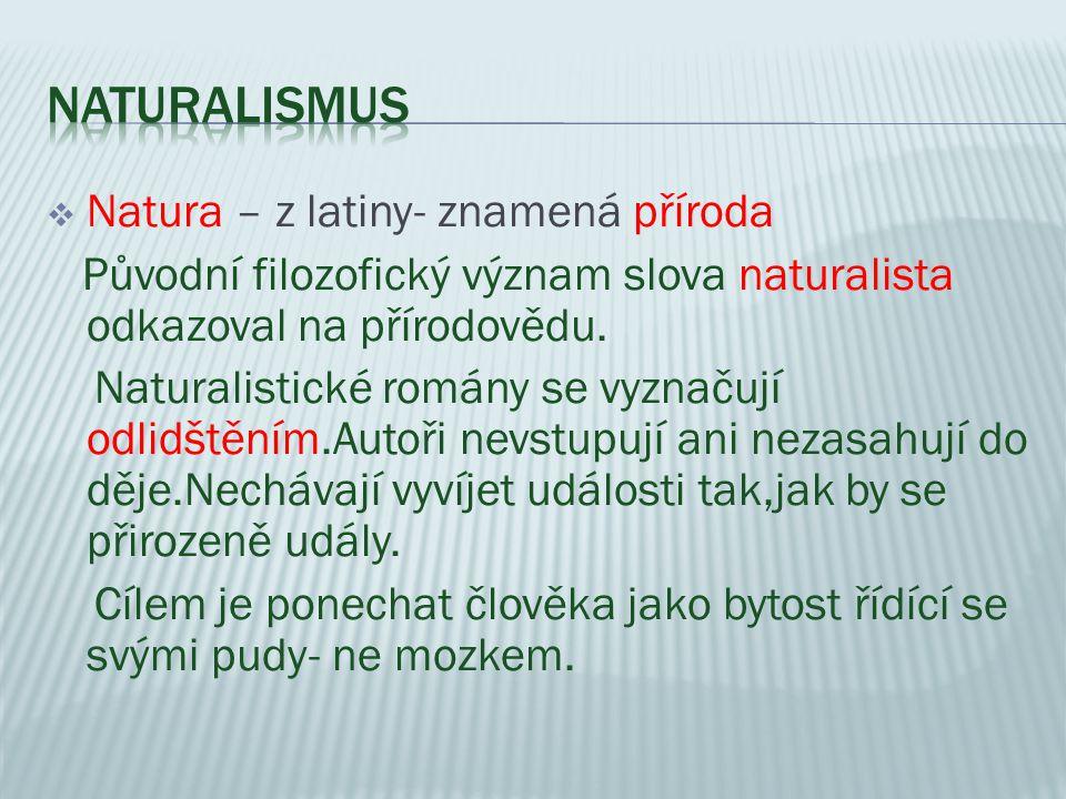  Natura – z latiny- znamená příroda Původní filozofický význam slova naturalista odkazoval na přírodovědu. Naturalistické romány se vyznačují odlidšt