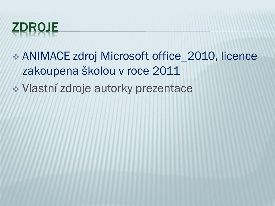 ANIMACE zdroj Microsoft office_2010, licence zakoupena školou v roce 2011  Vlastní zdroje autorky prezentace