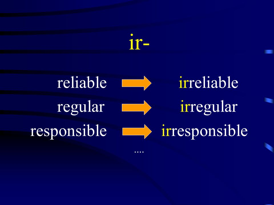 ir- reliable irreliable regular irregular responsible irresponsible....