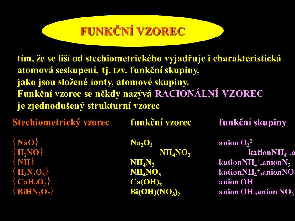 FUNKČNÍ VZOREC tím, že se liší od stechiometrického vyjadřuje i charakteristická atomová seskupení, tj. tzv. funkční skupiny, jako jsou složené ionty,