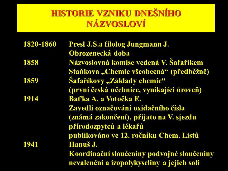 """HISTORIE VZNIKU DNEŠNÍHO NÁZVOSLOVÍ 1820-1860Presl J.S.a filolog Jungmann J. Obrozenecká doba 1858Názvoslovná komise vedená V. Šafaříkem Staňkova """"Che"""
