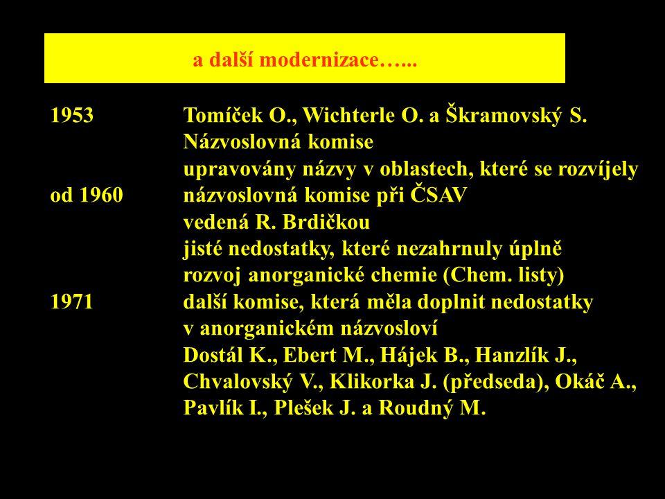 a další modernizace…... 1953Tomíček O., Wichterle O. a Škramovský S. Názvoslovná komise upravovány názvy v oblastech, které se rozvíjely od 1960názvos