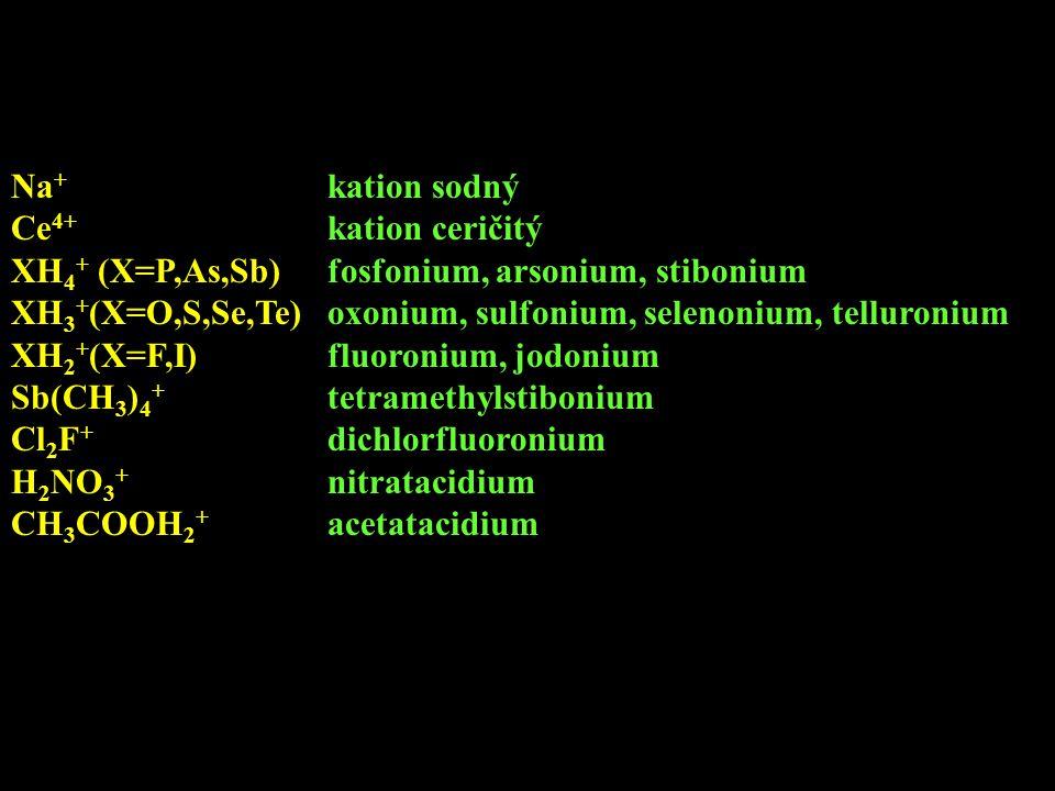 Na + kation sodný Ce 4+ kation ceričitý XH 4 + (X=P,As,Sb)fosfonium, arsonium, stibonium XH 3 + (X=O,S,Se,Te)oxonium, sulfonium, selenonium, telluroni
