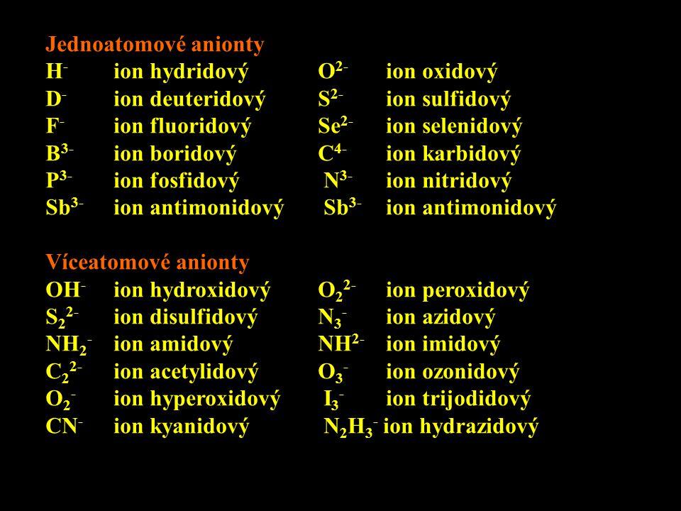 Jednoatomové anionty H - ion hydridovýO 2- ion oxidový D - ion deuteridovýS 2- ion sulfidový F - ion fluoridovýSe 2- ion selenidový B 3- ion boridovýC