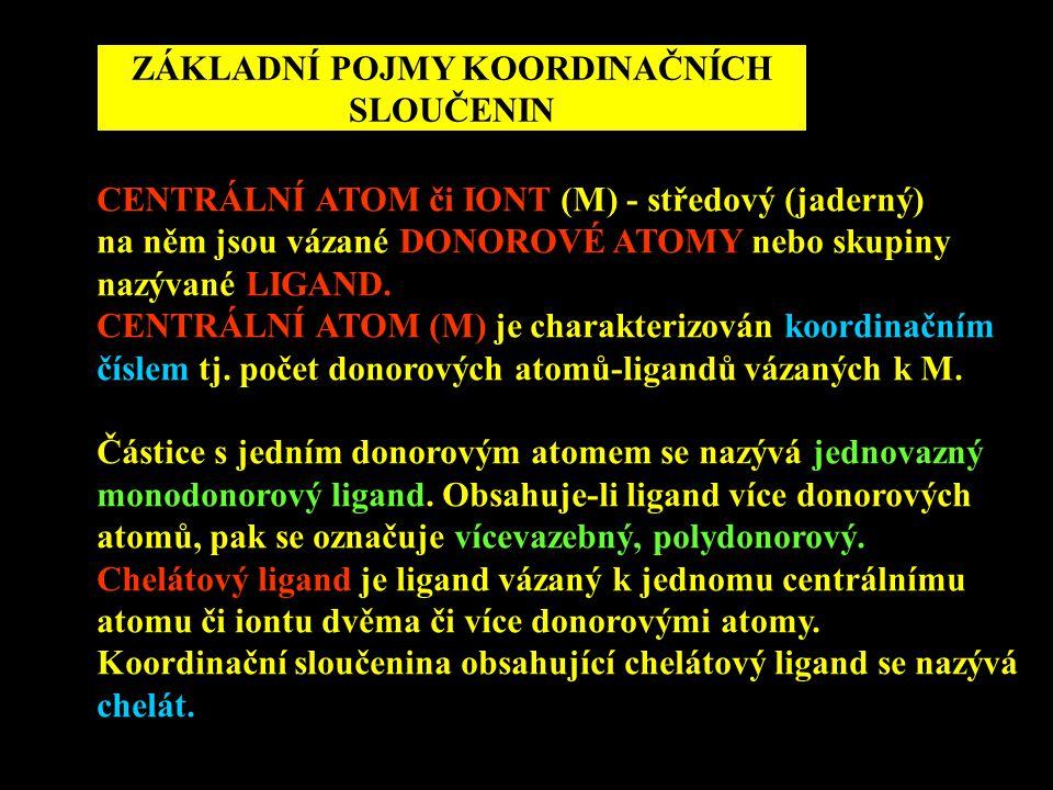 ZÁKLADNÍ POJMY KOORDINAČNÍCH SLOUČENIN CENTRÁLNÍ ATOM či IONT (M) - středový (jaderný) na něm jsou vázané DONOROVÉ ATOMY nebo skupiny nazývané LIGAND.