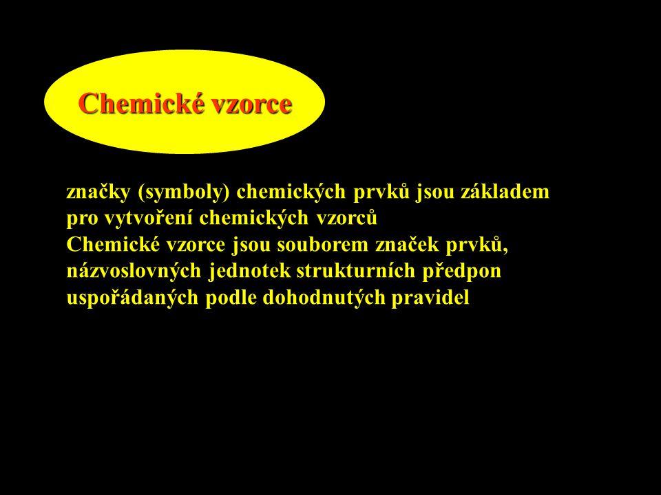 Chemické vzorce značky (symboly) chemických prvků jsou základem pro vytvoření chemických vzorců Chemické vzorce jsou souborem značek prvků, názvoslovn