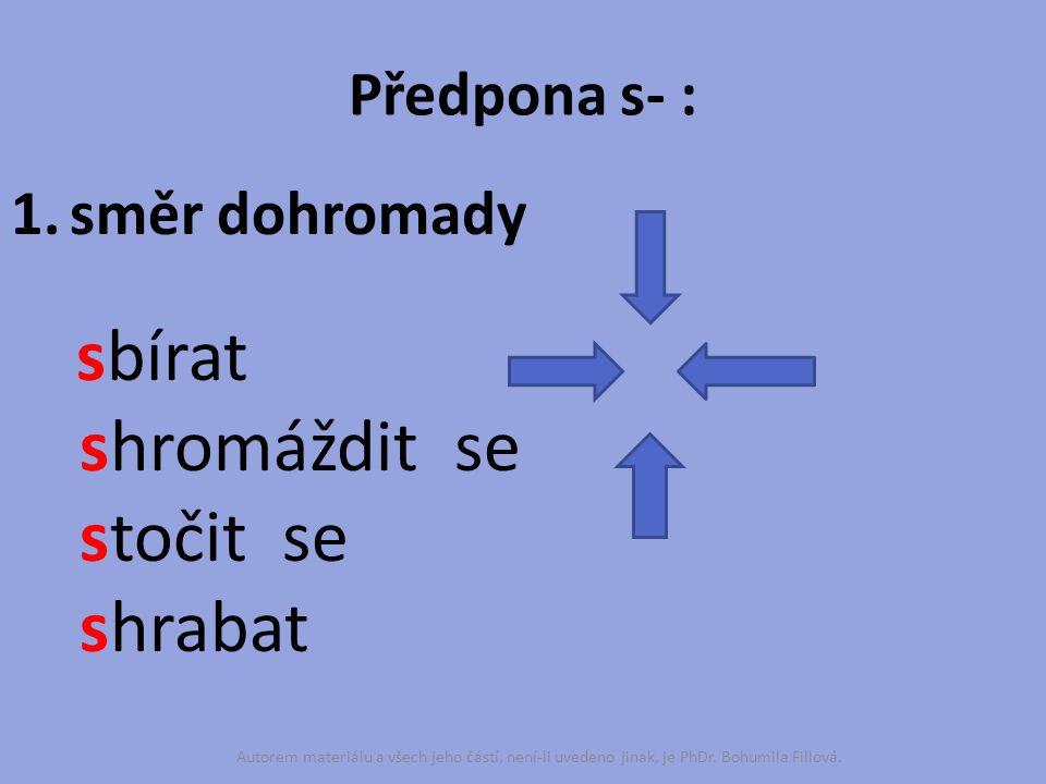 Předpona s- : 1.směr dohromady sbírat shromáždit se stočit se shrabat Autorem materiálu a všech jeho částí, není-li uvedeno jinak, je PhDr. Bohumila F
