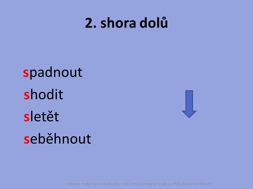 2. shora dolů spadnout shodit sletět seběhnout Autorem materiálu a všech jeho částí, není-li uvedeno jinak, je PhDr. Bohumila Fillová.