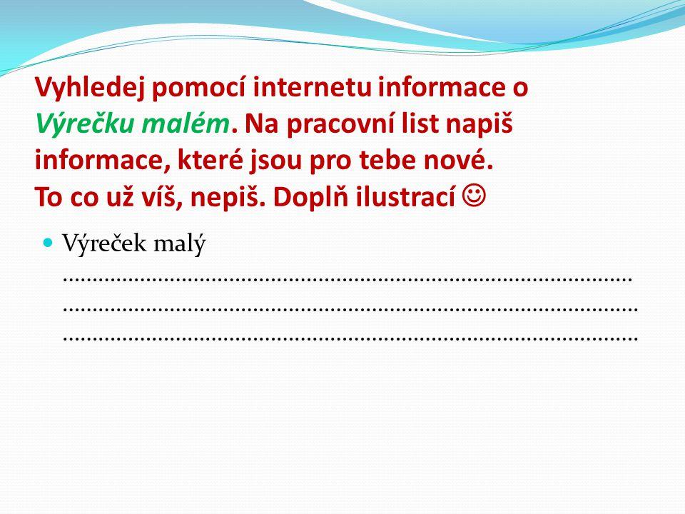 Vyhledej pomocí internetu informace o Výrečku malém.