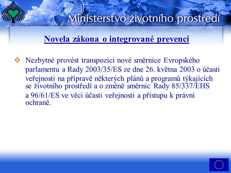 Novela zákona o integrované prevenci  Nezbytné provést transpozici nové směrnice Evropského parlamentu a Rady 2003/35/ES ze dne 26. května 2003 o úča