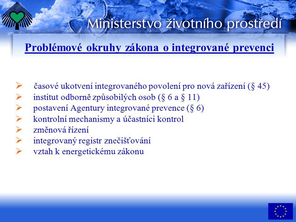 Problémové okruhy zákona o integrované prevenci  časové ukotvení integrovaného povolení pro nová zařízení (§ 45)  institut odborně způsobilých osob