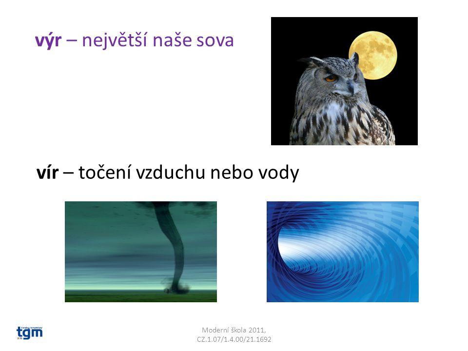 Moderní škola 2011, CZ.1.07/1.4.00/21.1692 výr – největší naše sova vír – točení vzduchu nebo vody