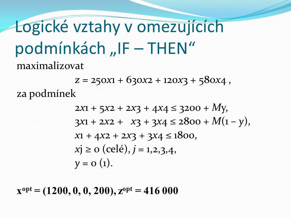 maximalizovat z = 250x1 + 630x2 + 120x3 + 580x4, za podmínek 2x1 + 5x2 + 2x3 + 4x4 ≤ 3200 + My, 3x1 + 2x2 + x3 + 3x4 ≤ 2800 + M(1 – y), x1 + 4x2 + 2x3