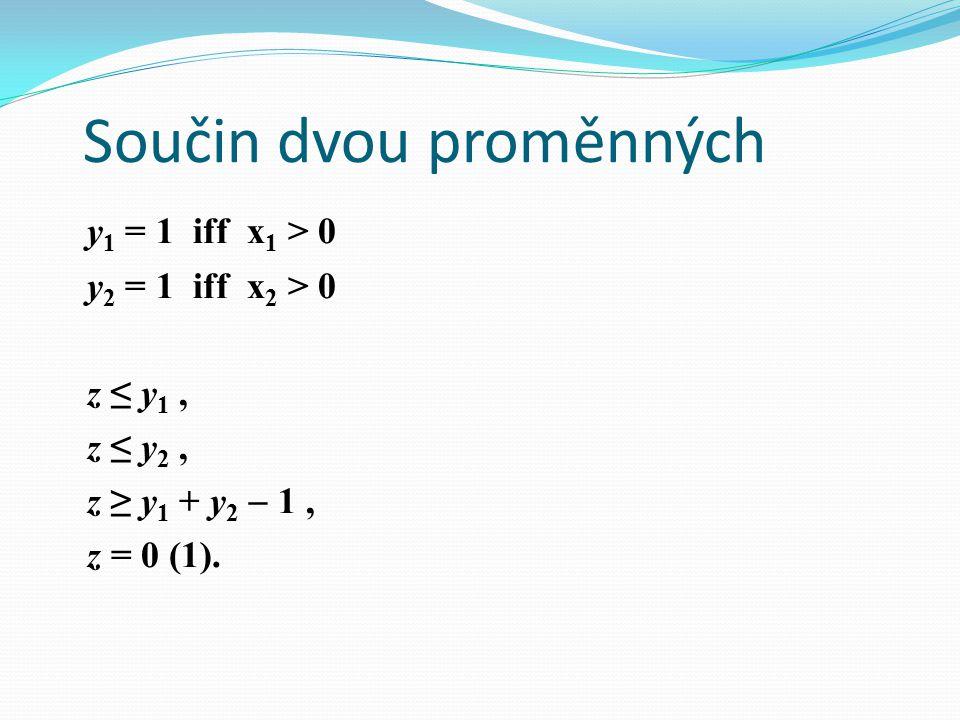 Součin dvou proměnných y 1 = 1 iff x 1 > 0 y 2 = 1 iff x 2 > 0 z ≤ y 1, z ≤ y 2, z ≥ y 1 + y 2  1, z = 0 (1).