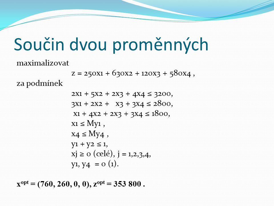 Součin dvou proměnných maximalizovat z = 250x1 + 630x2 + 120x3 + 580x4, za podmínek 2x1 + 5x2 + 2x3 + 4x4 ≤ 3200, 3x1 + 2x2 + x3 + 3x4 ≤ 2800, x1 + 4x