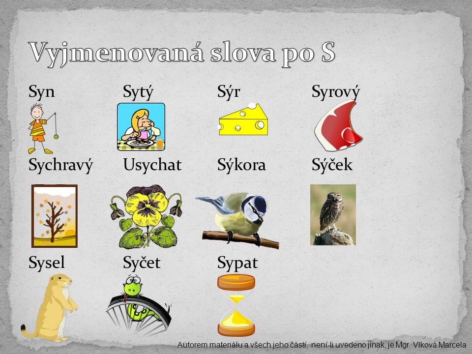 SynSytýSýrSyrový SychravýUsychatSýkoraSýček SyselSyčetSypat Autorem materiálu a všech jeho částí, není-li uvedeno jinak, je Mgr. Vlková Marcela