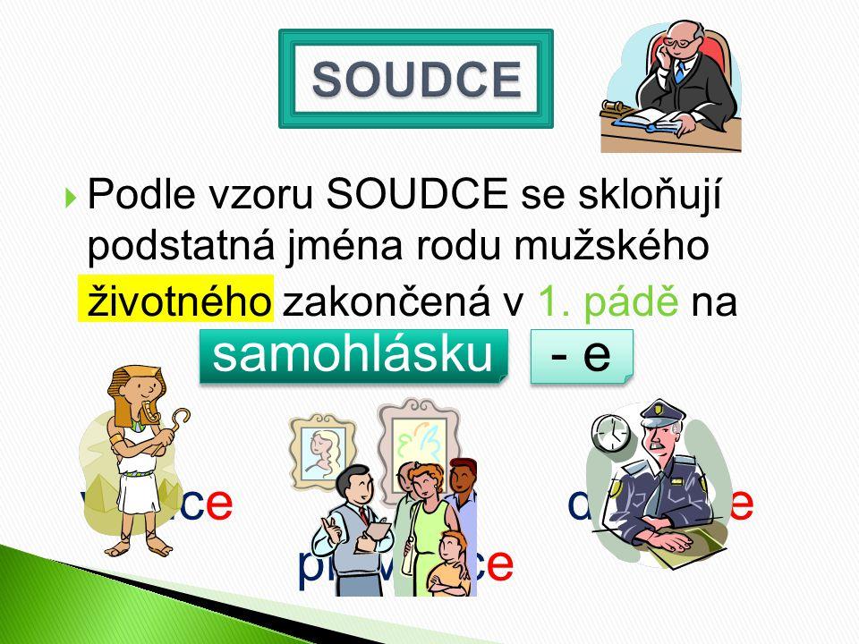  Podle vzoru SOUDCE se skloňují podstatná jména rodu mužského životného zakončená v 1.