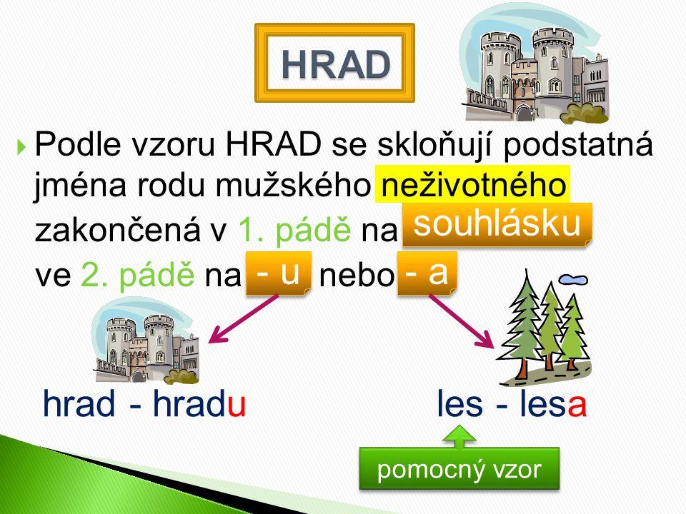  Podle vzoru HRAD se skloňují podstatná jména rodu mužského neživotného zakončená v 1.