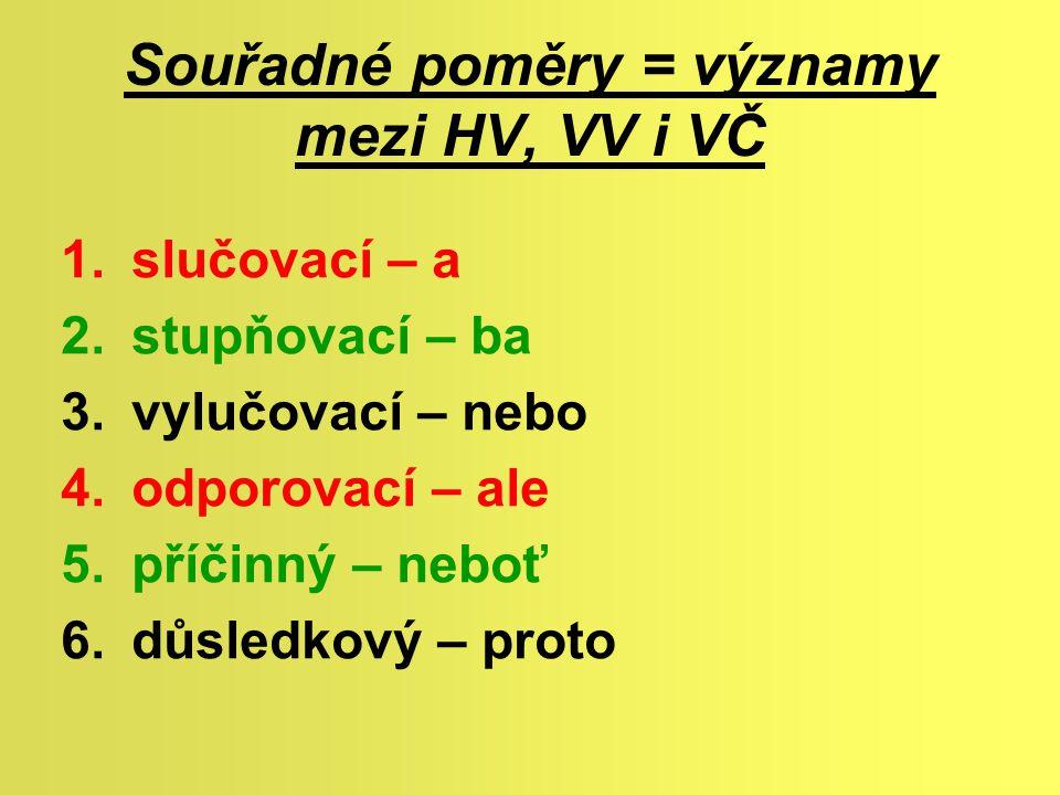 Souřadné poměry = významy mezi HV, VV i VČ 1.slučovací – a 2.stupňovací – ba 3.vylučovací – nebo 4.odporovací – ale 5.příčinný – neboť 6.důsledkový –