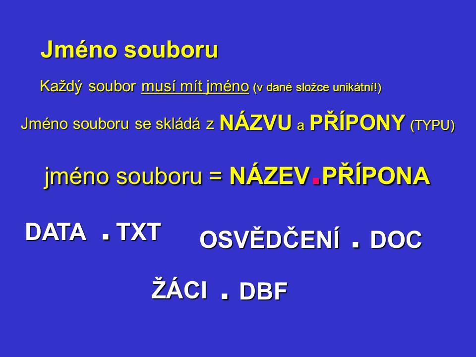 Jméno souboru Každý soubor musí mít jméno (v dané složce unikátní!) Jméno souboru se skládá z NÁZVU a PŘÍPONY (TYPU) jméno souboru = NÁZEV. PŘÍPONA DA