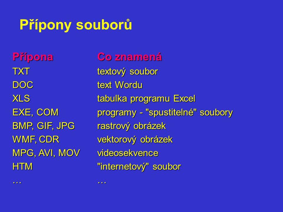 PříponaCo znamená TXTtextový soubor DOCtext Wordu XLStabulka programu Excel EXE, COMprogramy -