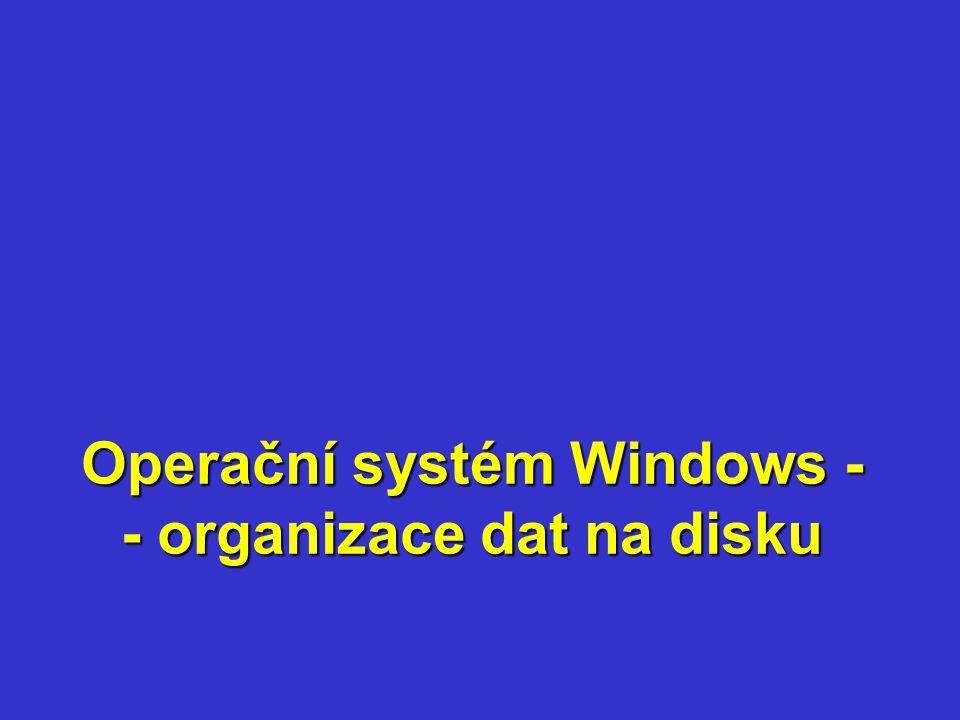 Operační systém Windows - - organizace dat na disku