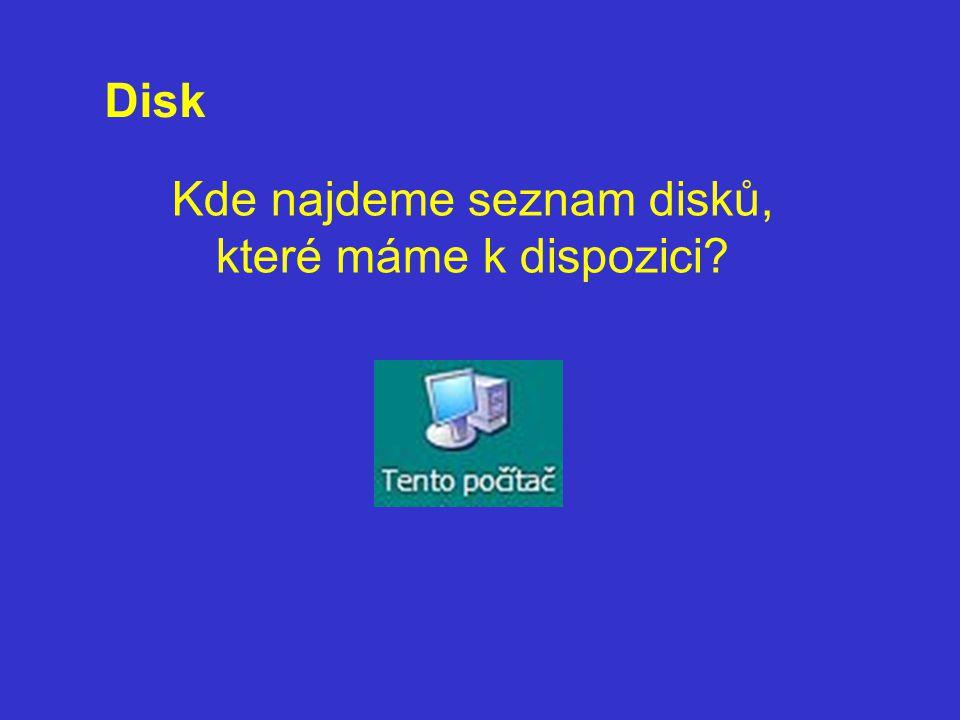 Kde najdeme seznam disků, které máme k dispozici? Disk